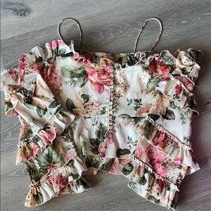 Floral cold shoulder ruffle blouse